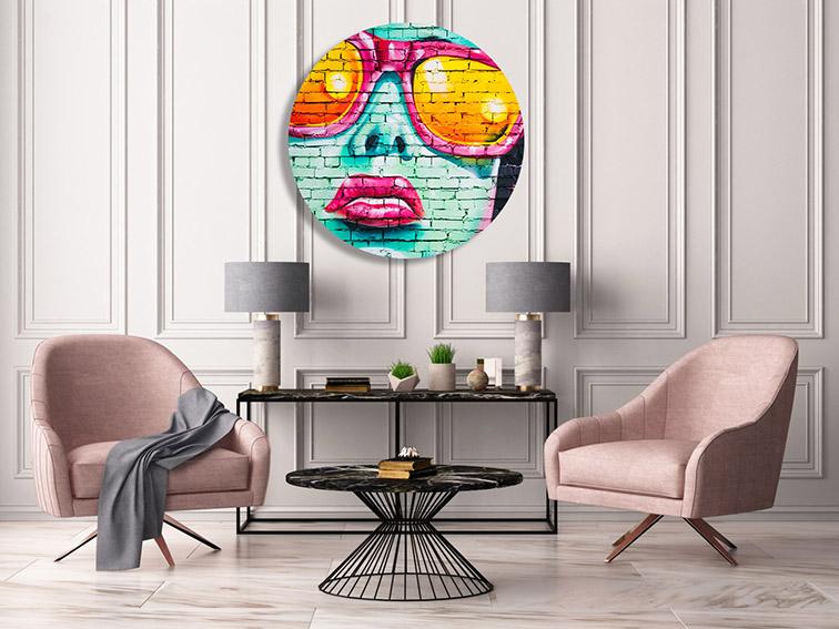 Impression photo format rond. Tirage photo rond. Développement photo plexiglas rond. Décoration murale salon.